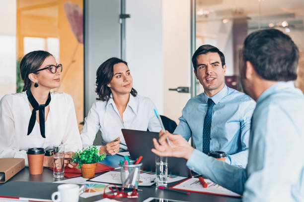 Company leaders on a meeting stock photo