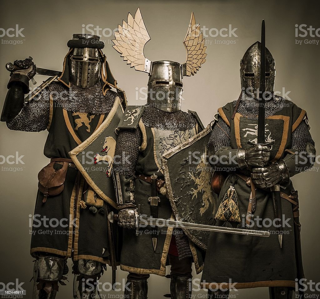 Company of medieval knights in armour stock photo