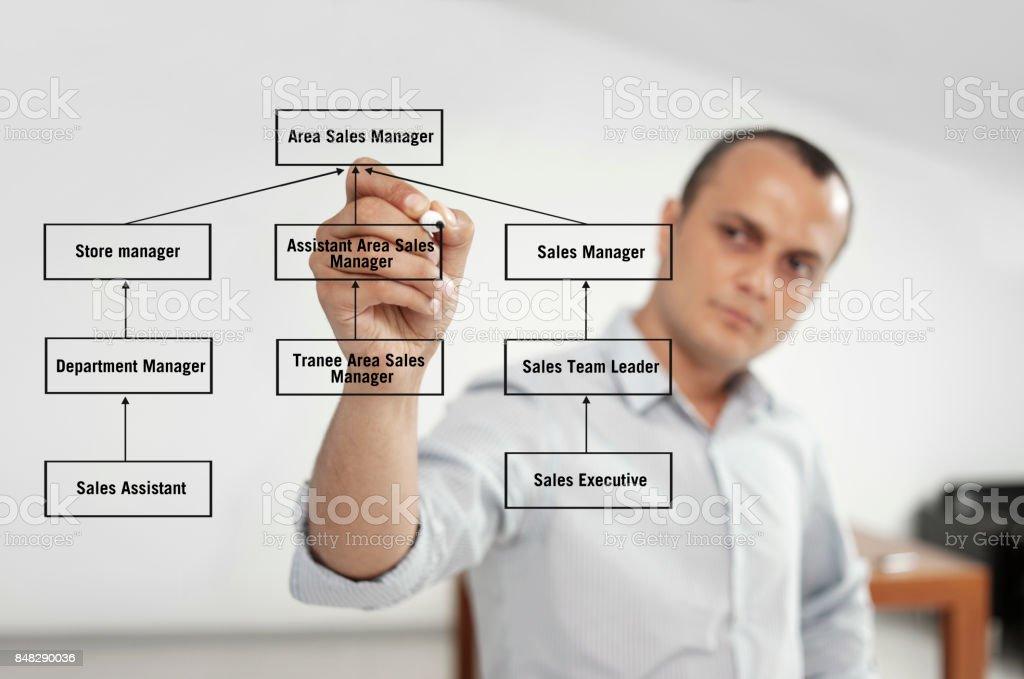 Businessman touching a company organization chart on a virtual screen
