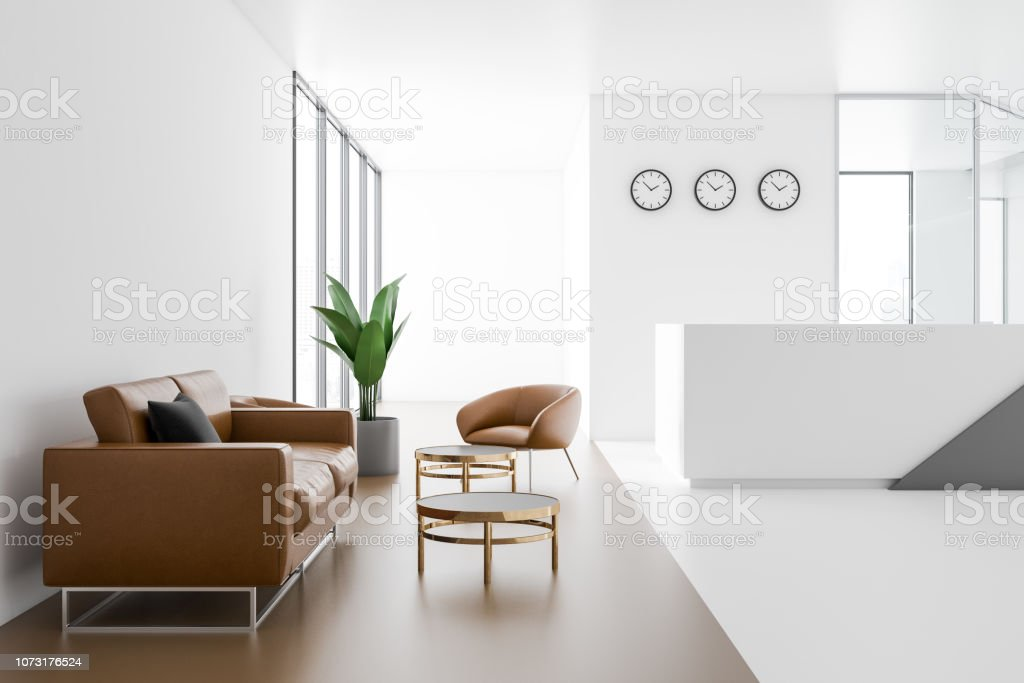Company Reception Hall With Leather Sofas Stock Photo ...
