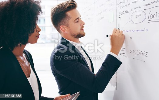 Shot of a young businessman and businesswoman having a brainstorming session in a modern office