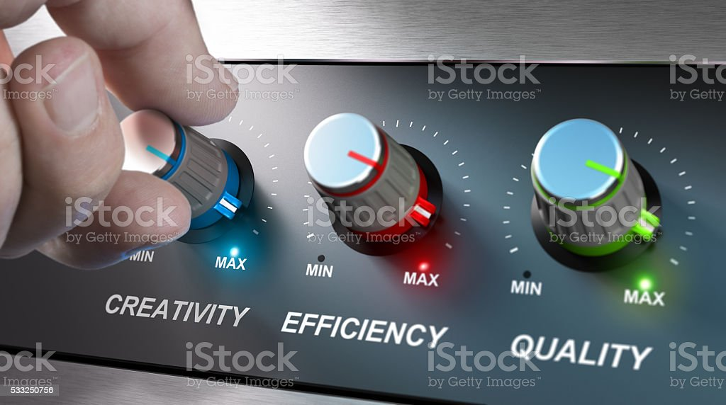 Company Values, Creativity, Efficiency and Quality stock photo