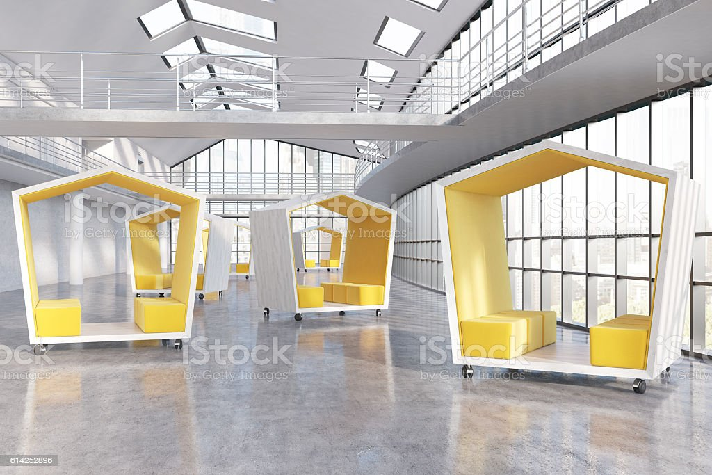 Company's lobby Yellow pentagonal waiting areas in big city company's office lobby. Panoramic windows. Concept of waiting and negotiations. 3d rendering Business Stock Photo