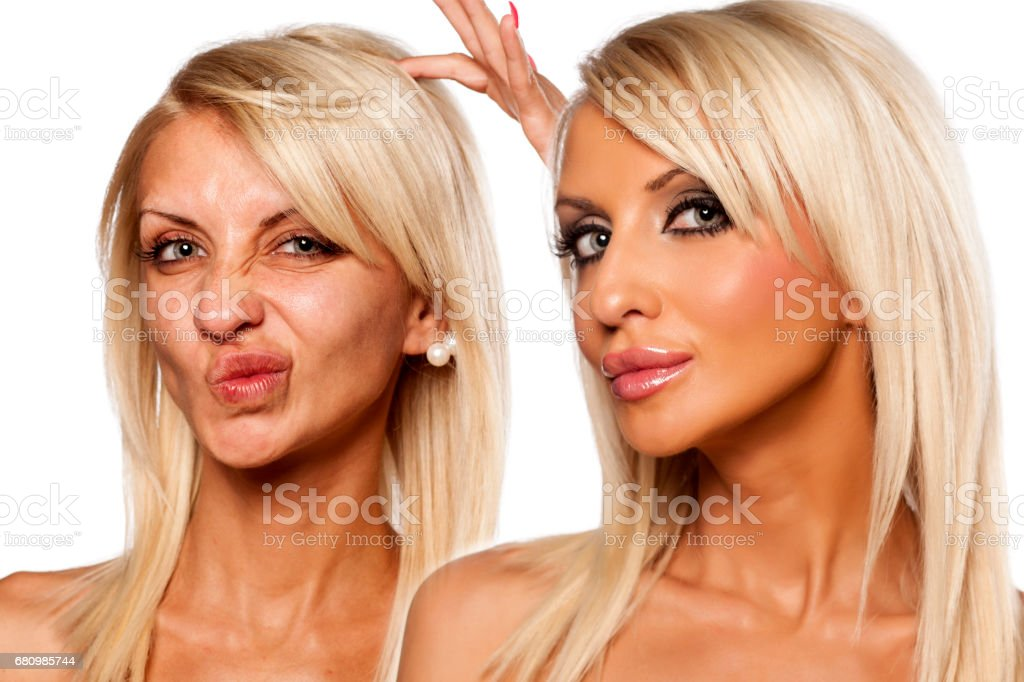 comparative portrait of female face, without and with makeup royalty-free stock photo
