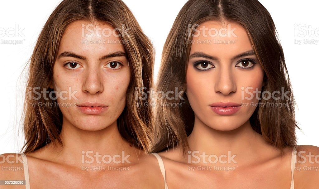 comparative portrait of the same woman, with and without makeup stock photo