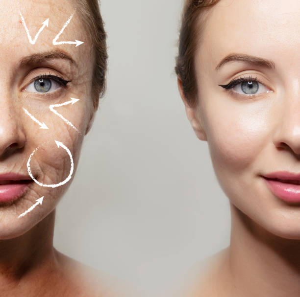 comparative portrait of young and old skin / copy space Health supplement female face anti-aging beauty cosmetics banner tighten stock pictures, royalty-free photos & images