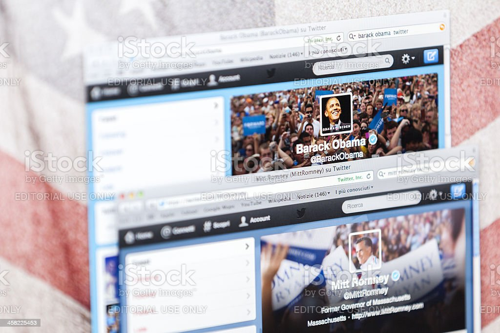 Compare Barack Obama and Mitt Romney Twitter Pages royalty-free stock photo