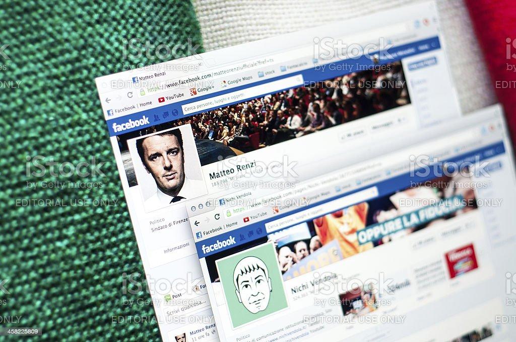 Compare Matteo Renzi and Nichi Vendola Facebook Pages stock photo