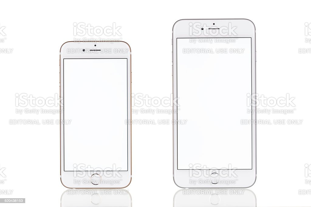 Comparing iPhone 6 and iPhone 6 Plus with white screen stock photo