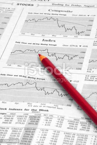 An investor checks the stock market indexes in the newspaper's financial section as he re-evaluates his portfolio selections.