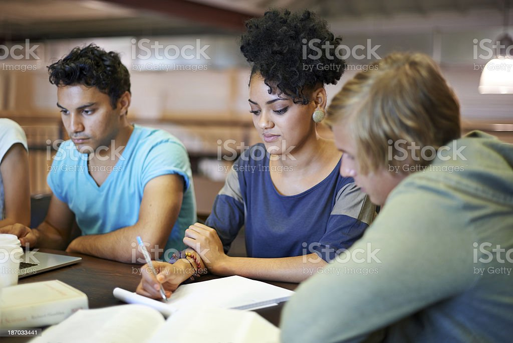 Comparing notes and preparing for exams royalty-free stock photo