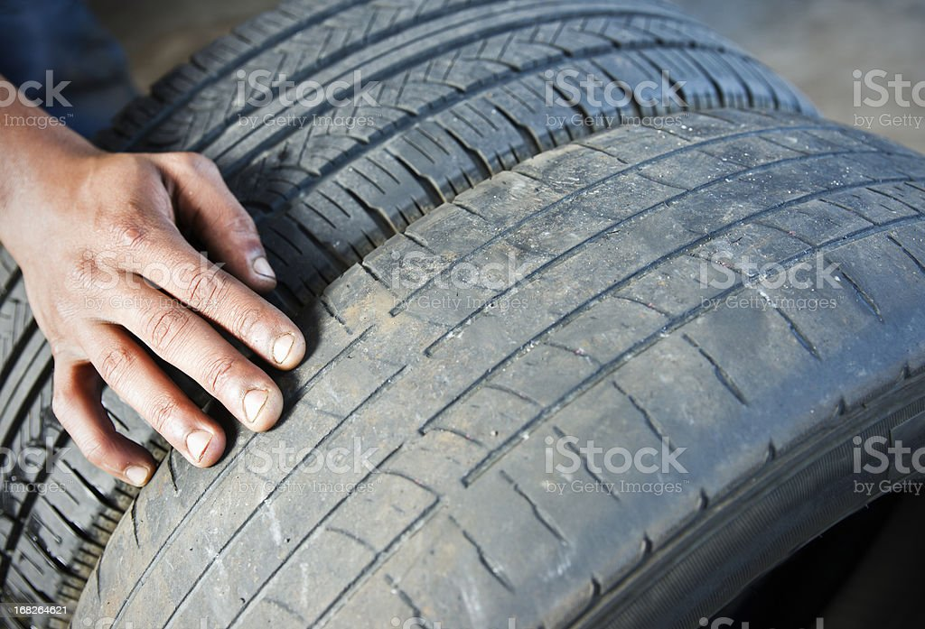 Comparing tire wear stock photo