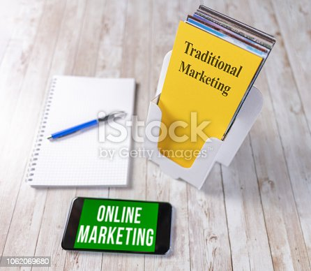 1062171194 istock photo Comparing traditional marketing leaflet to online marketing on a smartphone 1062069680