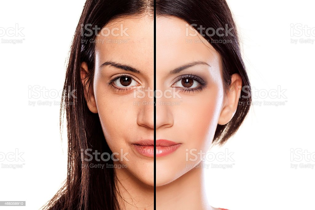 Comparision of a girl without and with makeup royalty-free stock photo