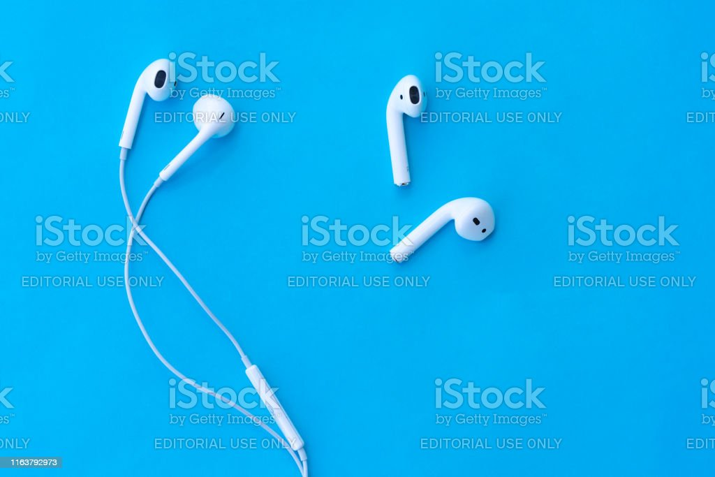 Comparison Apple Airpods Wireless Bluetooth Headphones And Wired Headphones Apple Iphone New Apple Earpods 2 Airpods Stock Photo Download Image Now Istock