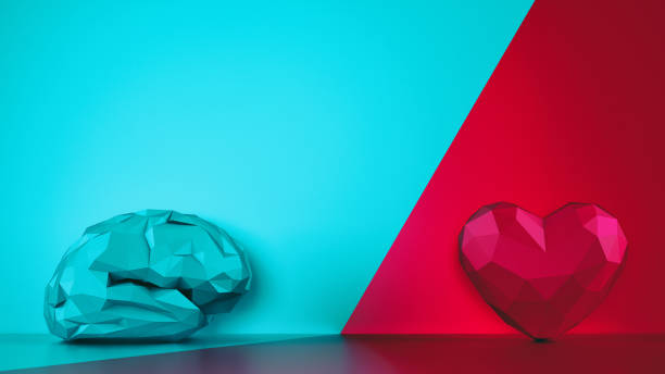 Comparison between reason and feeling. Faceted brain and heart on a two tone background. 3D Rendering stock photo