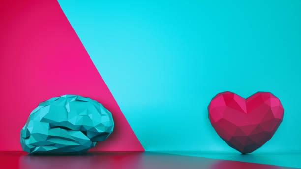 porównanie rozumu i uczucia. fasetowany mózg i serce na dwutem tonowym tle. renderowanie 3d - inteligencja zdjęcia i obrazy z banku zdjęć