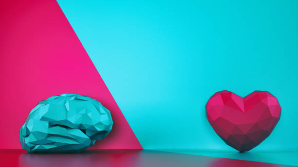 Comparison between reason and feeling. Faceted brain and heart on a two tone background. 3D Rendering - foto stock