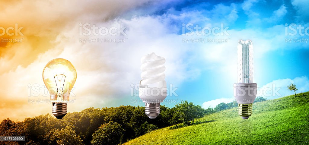 Comparison between various types of light bulb on landscape back stock photo