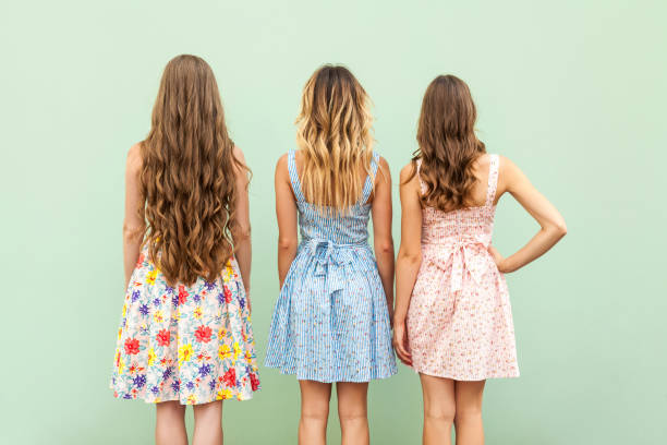 Comparison hairstyle with three woman. stock photo