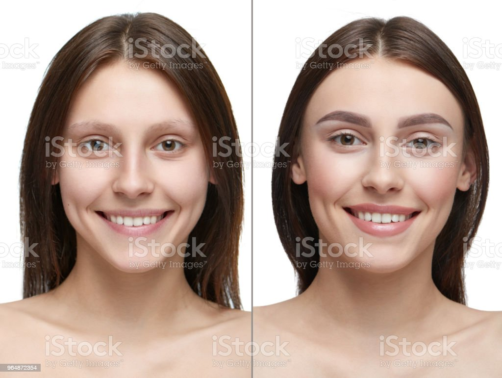 Comparison of a girl with make up and without make up. royalty-free stock photo