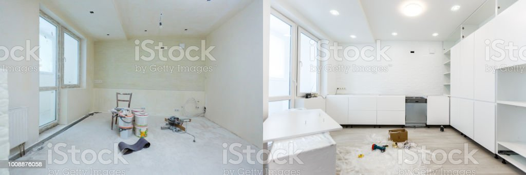Comparison of a room in an apartment before and after renovation new...