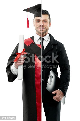 Comparison of businessman and graduate's outlook. Student wearing black and red graduation gown, keeping diploma. Businessman wearing classic suit with white shirt, black tie, keeping black folder.