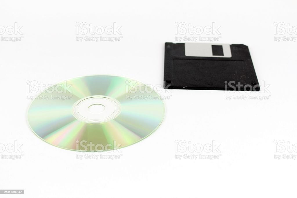 Comparison of Cd Rom and floppy drives stock photo