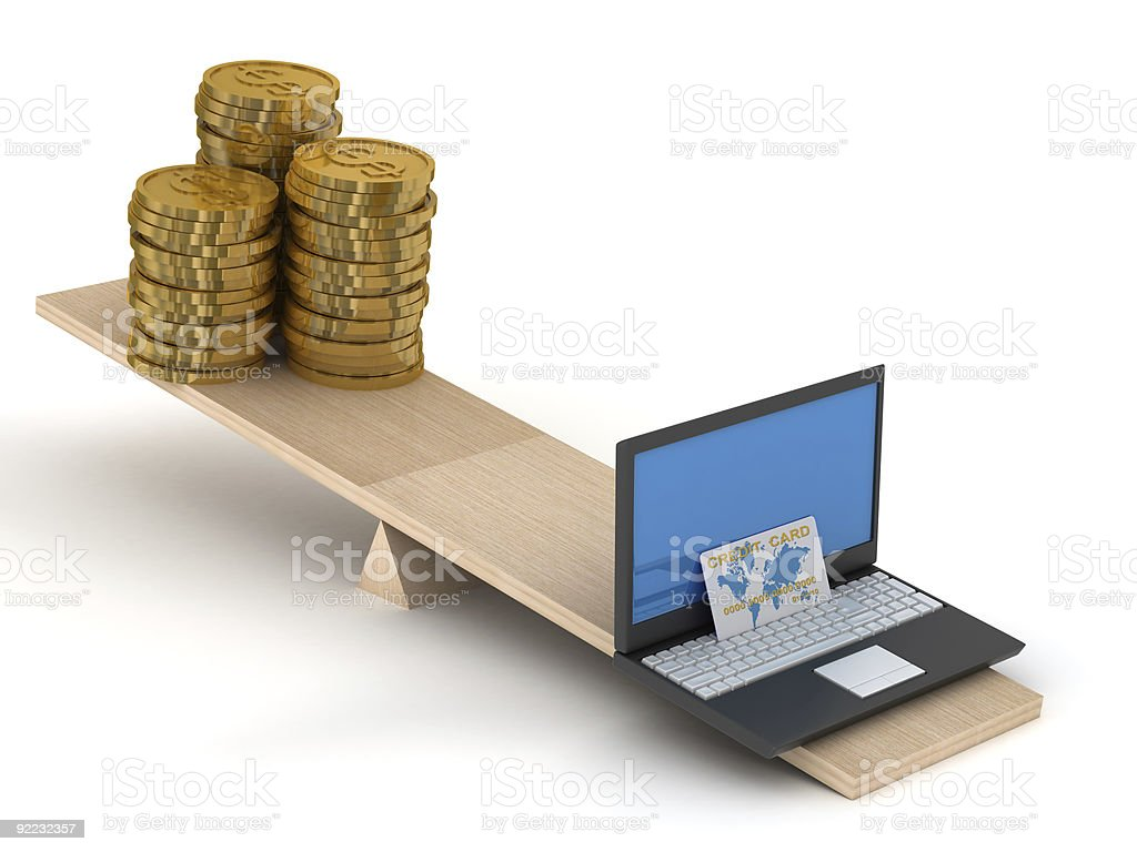 Comparison of e-commerce and cash. Isolated 3D image royalty-free stock photo