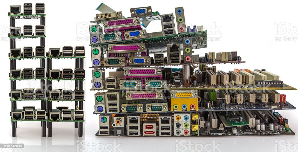 comparison of new and old PC motherboards stock photo