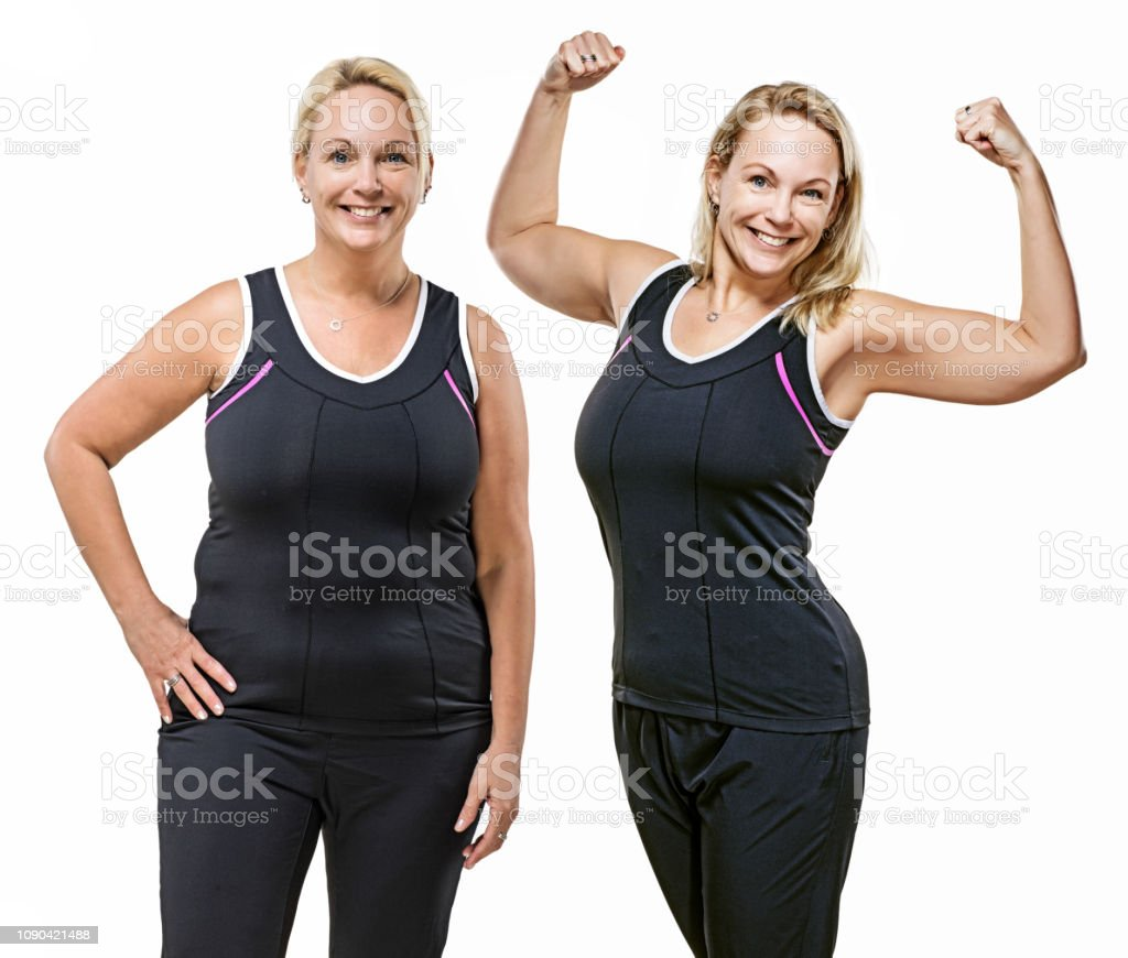 Comparison of overweight middle aged woman after dieting - Стоковые фото Боди-позитив роялти-фри