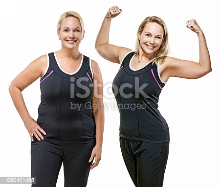 Comparison image of overweight middle aged woman's real body before and after dieting, working out and fitness regime