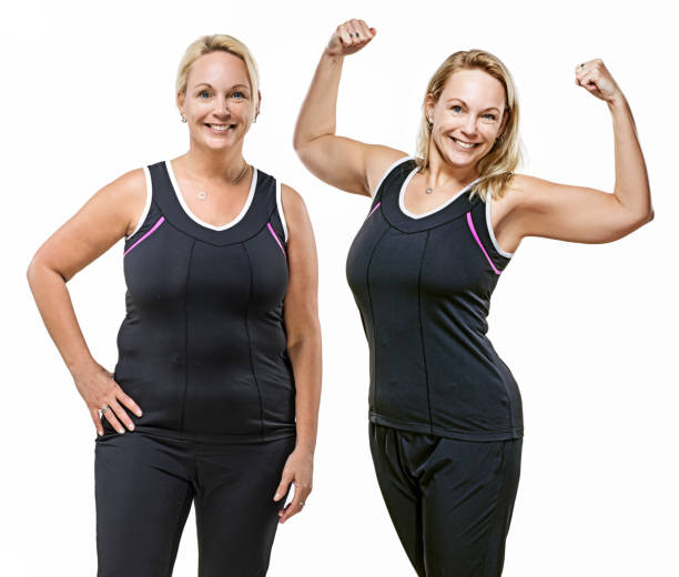 Comparison of overweight middle aged woman after dieting Comparison image of overweight middle aged woman's real body before and after dieting, working out and fitness regime dieting stock pictures, royalty-free photos & images