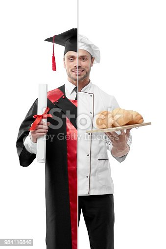 istock Comparison of university's graduate and chef's outlook. 984116846
