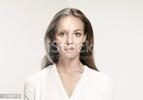 istock Comparison. Portrait of beautiful woman with problem and clean skin, aging and youth concept, beauty treatment 1016688100
