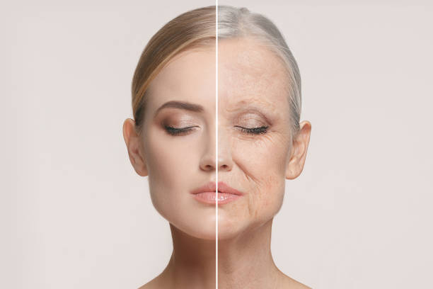 comparison. portrait of beautiful woman with problem and clean skin, aging and youth concept, beauty treatment - dojrzały zdjęcia i obrazy z banku zdjęć