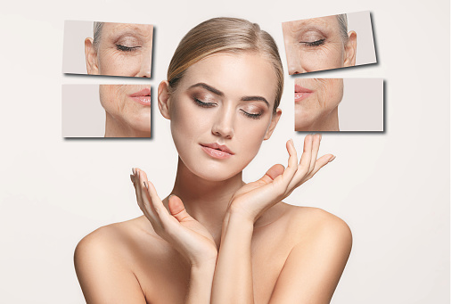 istock Comparison. Portrait of beautiful woman with problem and clean skin, aging and youth concept, beauty treatment 938501246
