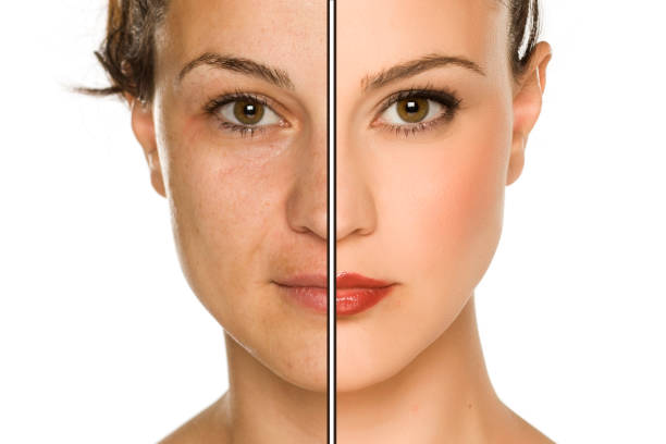 Comparison portrait of woman without and with makeup. Makeover concept. stock photo