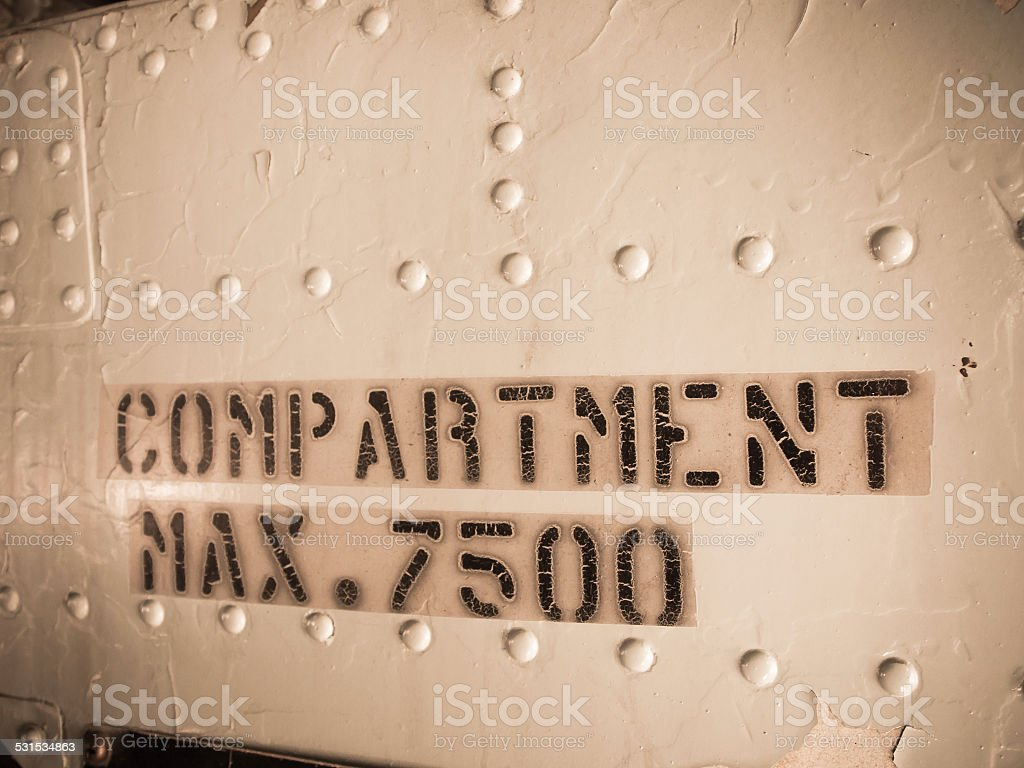Compartment warning sign. stock photo