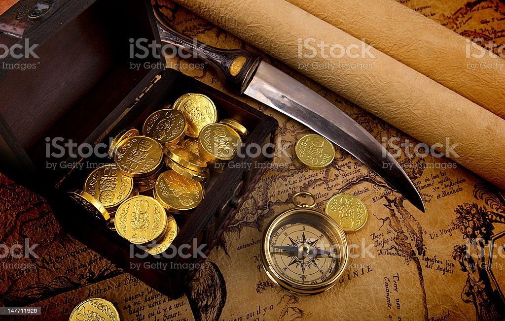 Compass and a map stock photo