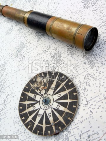 Old Compass rose and monocular on a vintage map as background