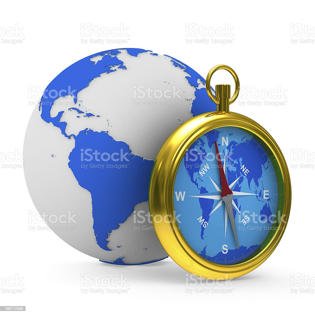 compass and globe on white background. Isolated 3D image royalty-free stock photo