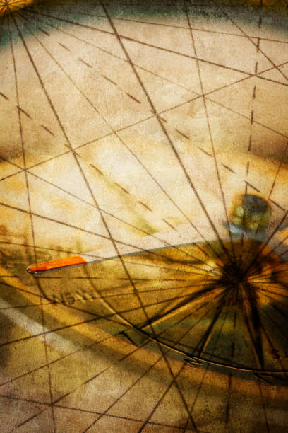 Compass And Grid Lines Of Old Map stock photo