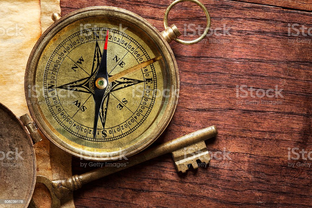 Compass And Key stock photo