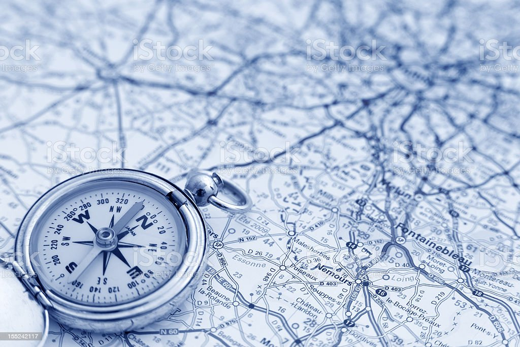 Compass and map stock photo