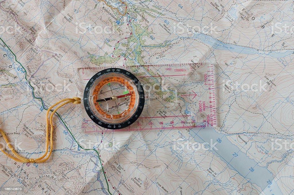 Kompass und Karte – Foto