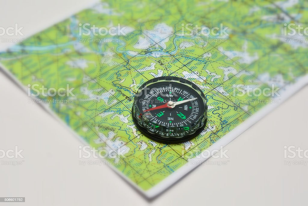 Compass and map. stock photo
