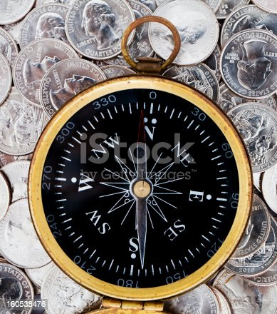Old compass on quarter coins