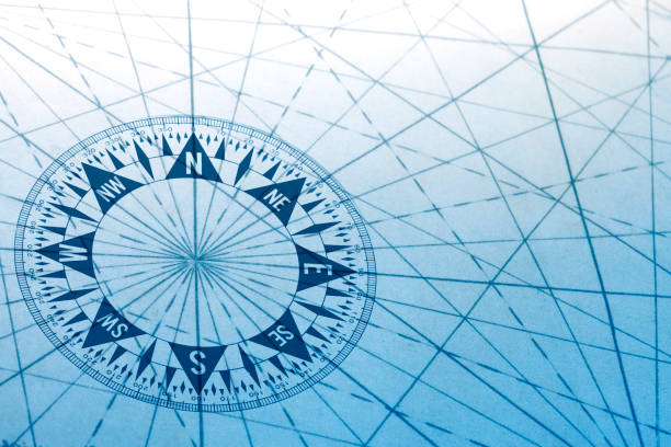 Compass And Navigational Lines From An Old Map stock photo