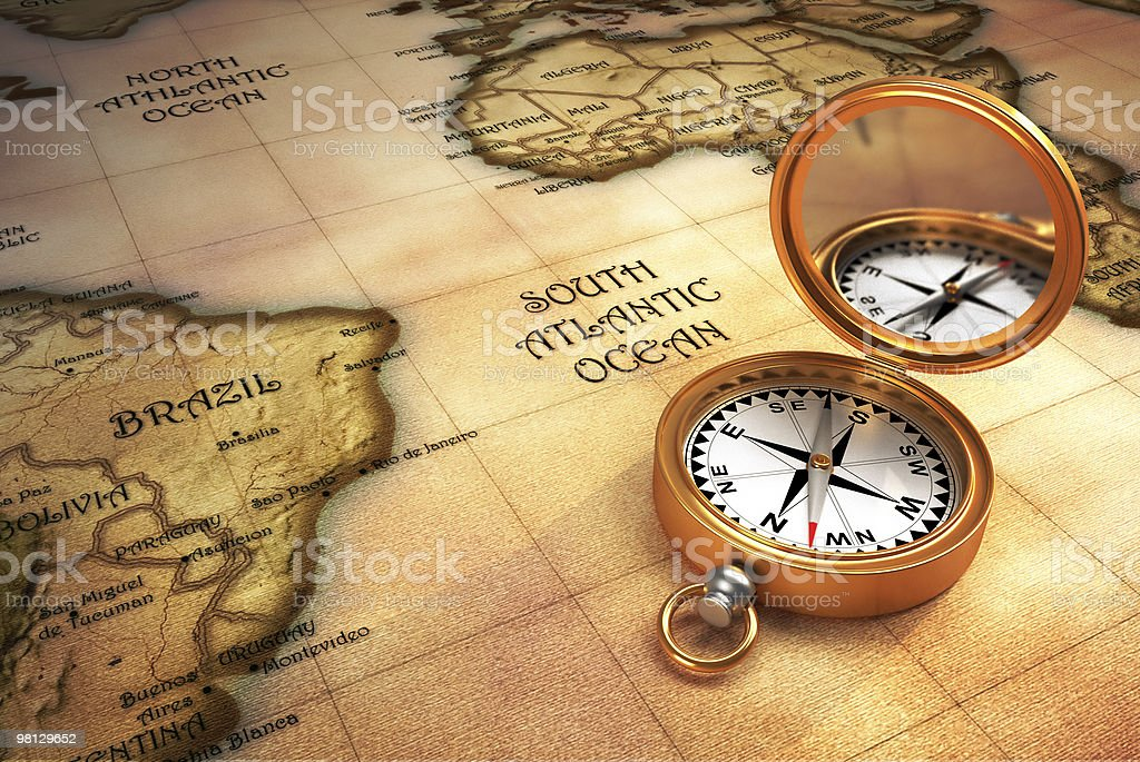 Compass and old map royalty-free stock photo